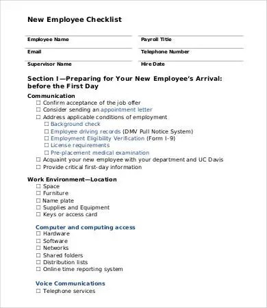 New Employee Checklist Template - 11+ Free PDF Documents Download