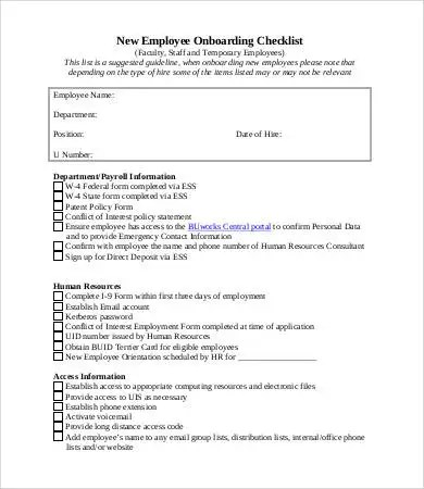New Employee Checklist Template - 9+ Free PDF Documents Download - new hire checklist template