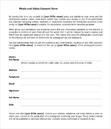 Consent Form Template - 9+Free Word, PDF Documents Download Free - photography consent form