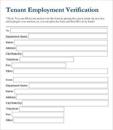 Employment Verification Forms Proof Of Employment Letter Template - verification form