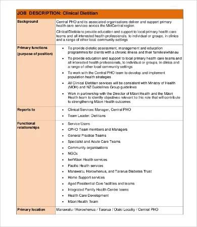 10+ Dietitian Job Description Templates - PDF, DOC Free  Premium - nutritionist job description