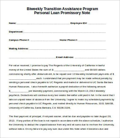 Sample Promissory Note Template - 12+ Free Sample, Example, Format