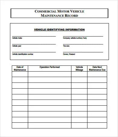 Vehicle Maintenance Log - 7+ Free PDF, Excel Documents Download