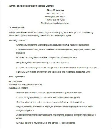 Hr Resumes - 9+ Free Word, PDF Documents Download Free  Premium