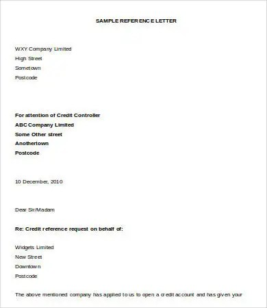Letter of Reference - 10+ Free Sample, Example, Format Free