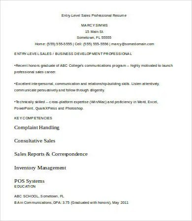 Entry Level Resume Template - 9+ Free Word, PDF Documents Download - entry level resume templates