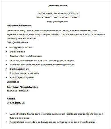 9+ Entry Level Resume Templates - PDF, DOC Free  Premium Templates - entry level financial analyst resume
