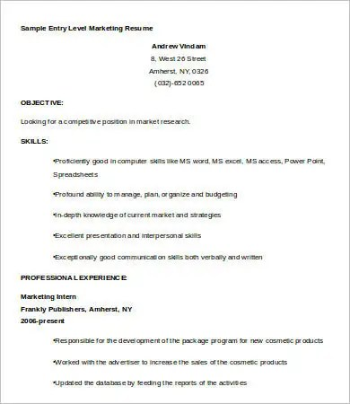 9+ Entry Level Resume Templates - PDF, DOC Free  Premium Templates - Sample Resume For Entry Level