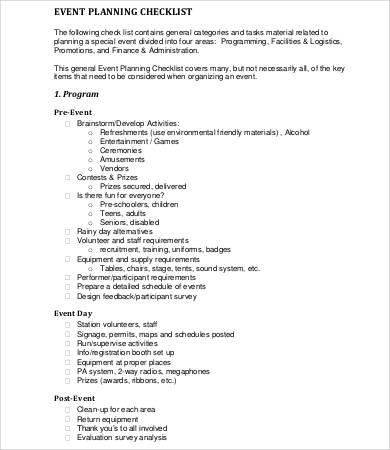 Event Checklist Template Venue Checklist Template Venue Checklist - sample event checklist template
