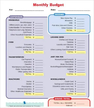 Printable Budget Template - 10+ Free PDF Documents Download Free