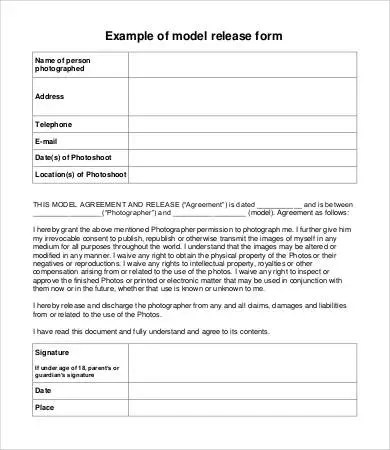 Model Release Form Template - 8+ Free Sample, Example, Format - free release of liability form