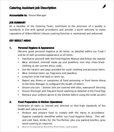 10+ Catering Job Description Templates - PDF, DOC Free  Premium