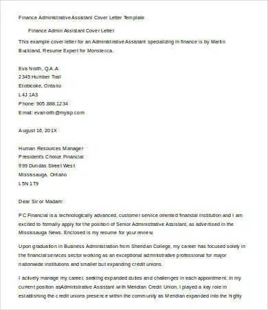 Cover Letters For Administrative Assistant - 6+ Free Word Documents - administrative assistant cover letter