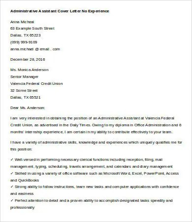 Cover Letters For Administrative Assistant - 6+ Free Word Documents