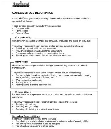 9+ Caregiver Job Description Templates - Free  Premium Templates
