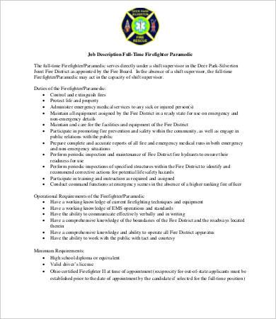 10+ Firefighter Job Description Templates - PDF, DOC Free - paramedic job description