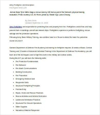 10+ Firefighter Job Description Templates - PDF, DOC Free