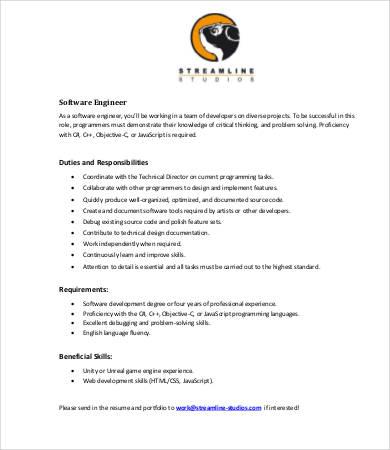 Engineer Job Description Templates - 10+ Free Word, PDF Format - software developer job description