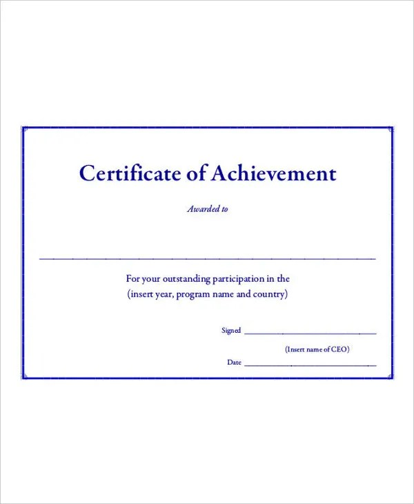 Certificate Of Achievement Template - 9+ Free Word, PDF, PSD Format - army certificate of achievement template