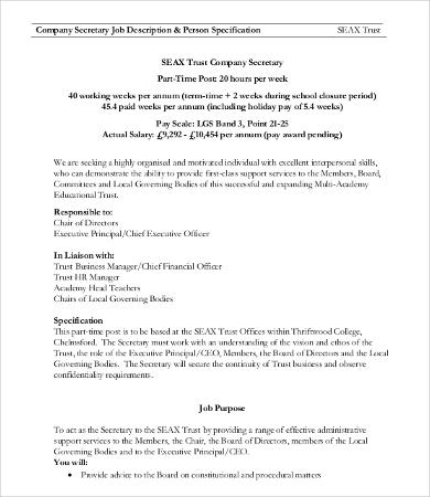 Secretary Job Description Template - 9+ Free Word, PDF Format - ceo job description