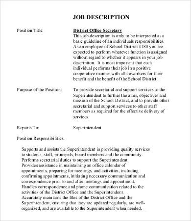 office job description