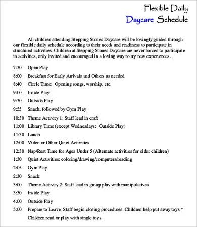 Daycare Schedule Template - 7+ Free Word, PDF Format Download Free