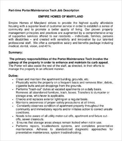 10+ Porter Job Description Templates - PDF, DOC Free  Premium