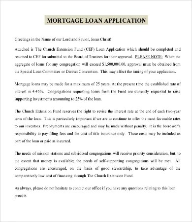 Mortgage Application Templates - 5+ Free Word, Excel, PDF Format - mortgage templates