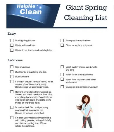 spring cleaning list template - Josemulinohouse