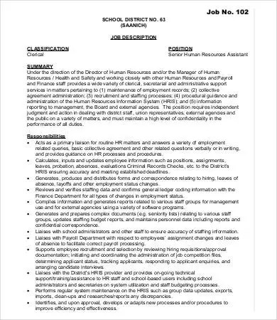Human Resources Assistant Job Description - 9+Free Word, PDF - human resource job description