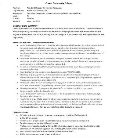 Human Resources Assistant Job Description - 9+Free Word, PDF - executive director job description