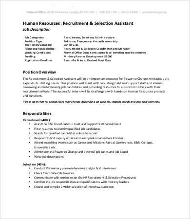 hr assistant job description - Selol-ink - human resources job description
