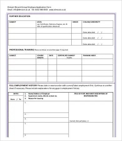 Employee Application Form - 9+ Free Word, PDF Documents Download