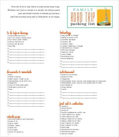 Packing Lists For Vacation - 9+Free Word, PDF Documents Download