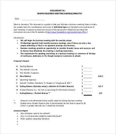 9+ Meeting Agenda Samples - Free Sample, Example, Format Free