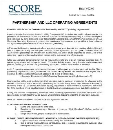 Operating Agreement Template - 8+ Free Word, PDF Documents - joint partnership agreement template