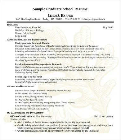 10+ High School Graduate Resume Templates - PDF, DOC Free - resume sample for graduate school