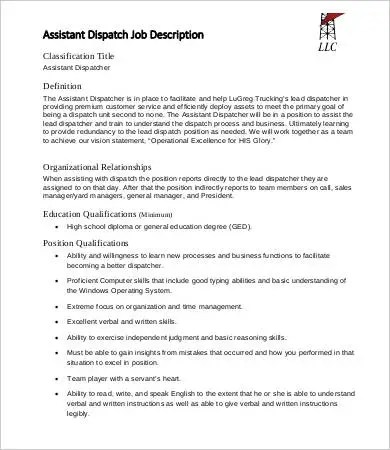 job description for dispatcher - Maggilocustdesign