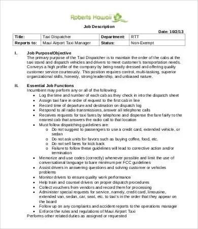 10+ Dispatcher Job Description Templates - PDF, DOC Free  Premium