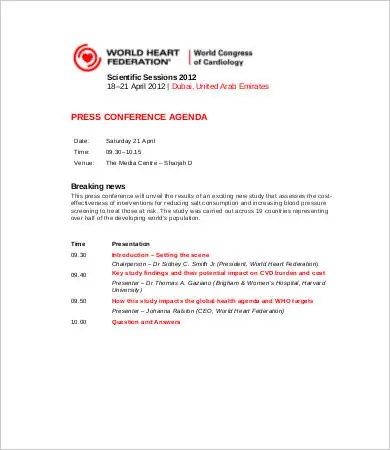 Conference Agenda Template - 9+ Free Word, PDF Documents Download - conference schedule template