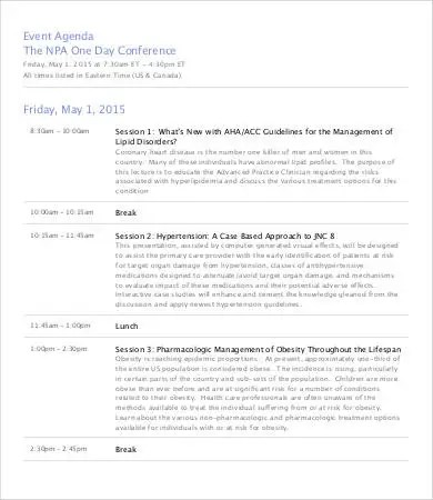 conference schedule template - Amitdhull - sample conference schedule template