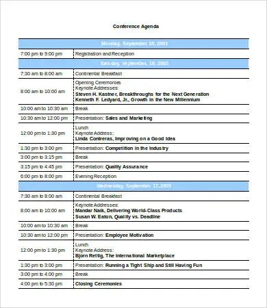 Conference Agenda Template - 9+ Free Word, PDF Documents Download - professional agenda templates