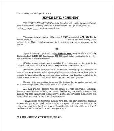 Service Level Agreement Template - 10+ Free Word, PDF Documents - service level agreement template