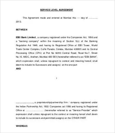 Service Level Agreement Template - 15+ Free Word, PDF Documents - service level agreement template