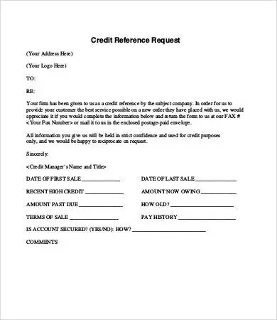 Credit Reference Letter - 9+ Free Word, PDF Documents Download - reference request letter