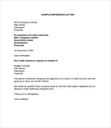 Free Trade Reference Letter Template  Adobe Resume Builder Download