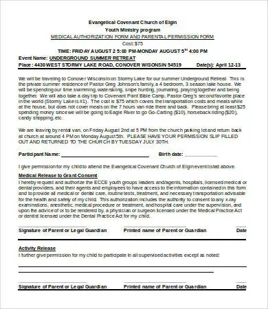 Permission Slip Templates - 9+ Free Word, PDF Documents Download - permission form template