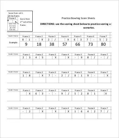 Bowling Score Sheet Templates - 8+ Free Word, PDF, Excel Documents