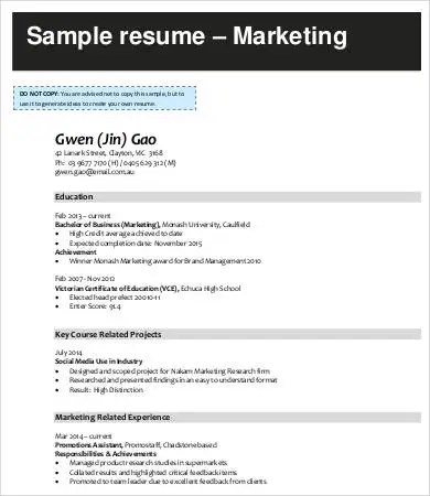 Digital Marketing Resume - 7+ Free Word, PDF Documents Downlaod - digital marketing resume template
