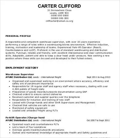 Warehouse Worker Resume - 7+ Free Sample, Example, Format Free - warehouse resume sample